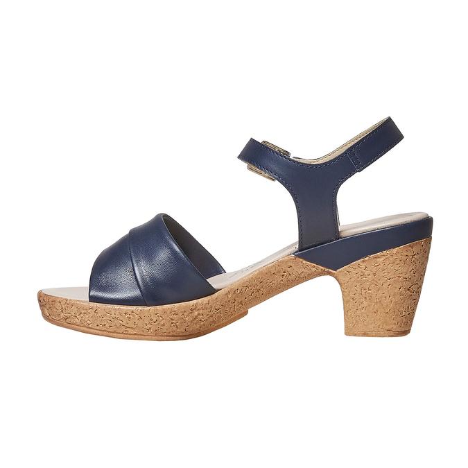 Sandale bleue à talon effet naturel bata-touch-me, Violet, 664-9231 - 26