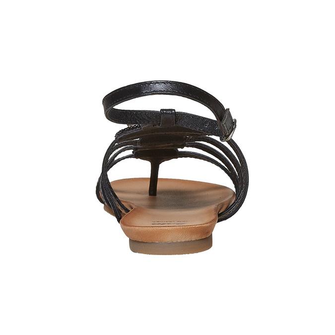 Sandale en cuir noir avec petites pierres bata, Noir, 564-6461 - 17