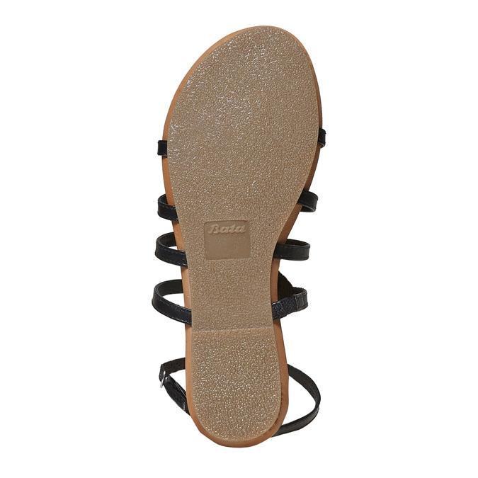 Sandale en cuir noir avec petites pierres bata, Noir, 564-6461 - 26