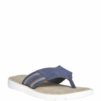 Tong en cuir à semelle blanche bata, Violet, 863-9273 - 13