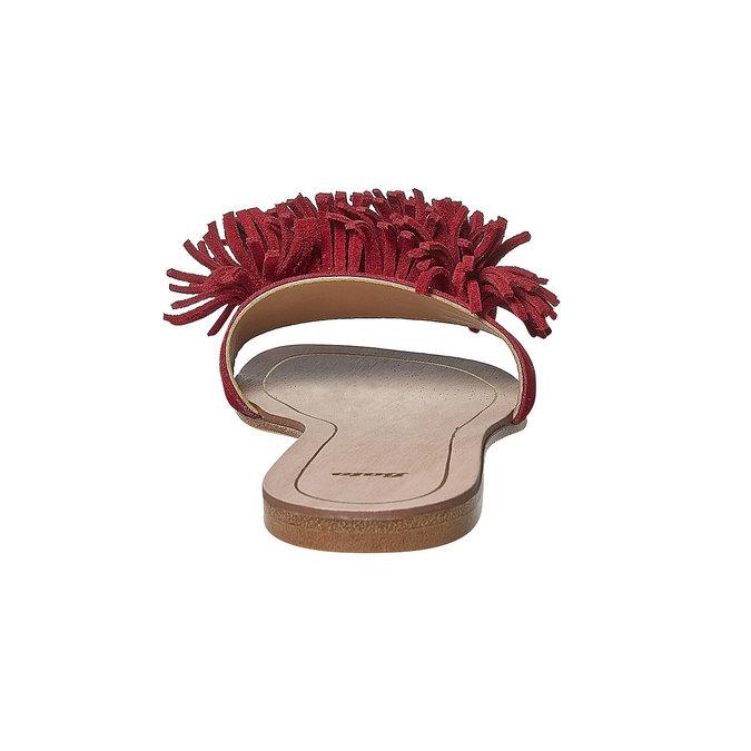 Mule à franges en cuir rouge bata, Rouge, 573-5354 - 17
