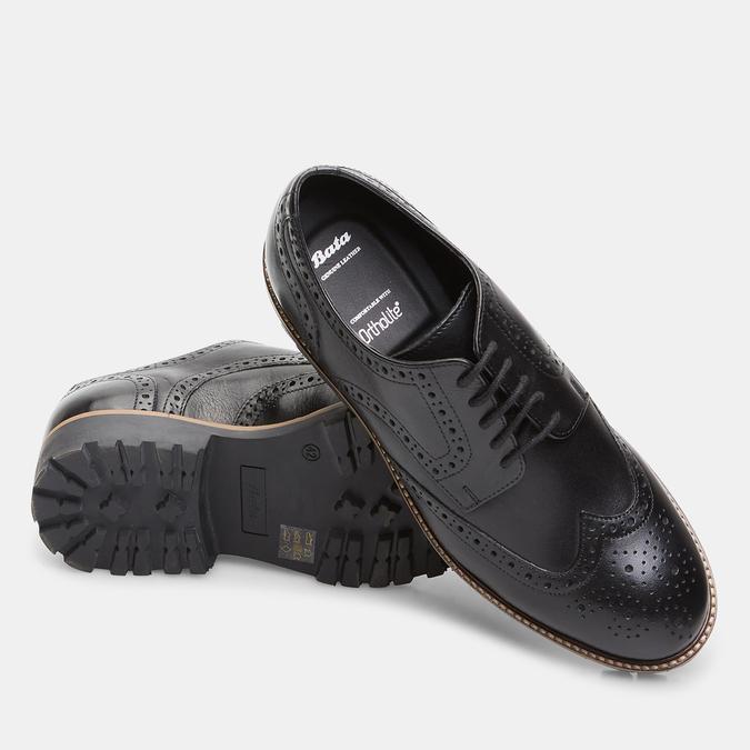 chaussures basses en cuir à surpiqûre brogue bata, Noir, 824-6133 - 19