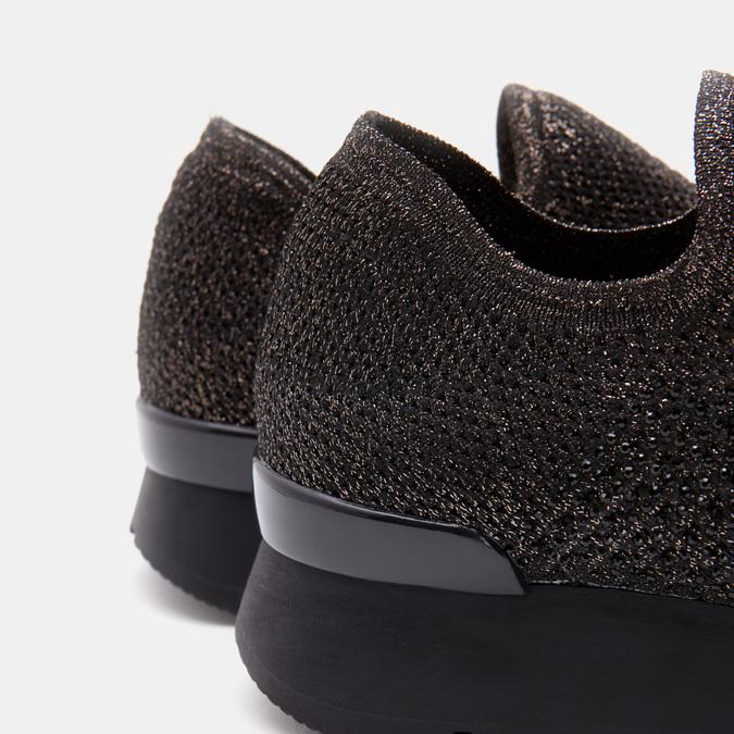 Chaussures slip-on à empeigne tricotée avec paillettes bata, Noir, 539-6143 - 26