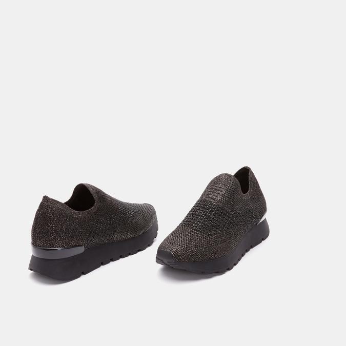 Chaussures slip-on à empeigne tricotée avec paillettes bata, Noir, 539-6143 - 16
