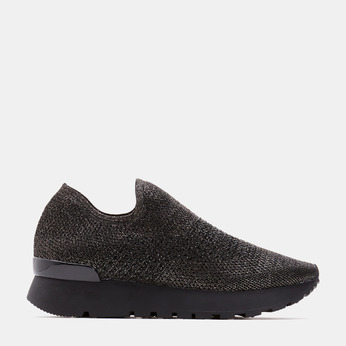 Chaussures slip-on à empeigne tricotée avec paillettes bata, Noir, 539-6143 - 13
