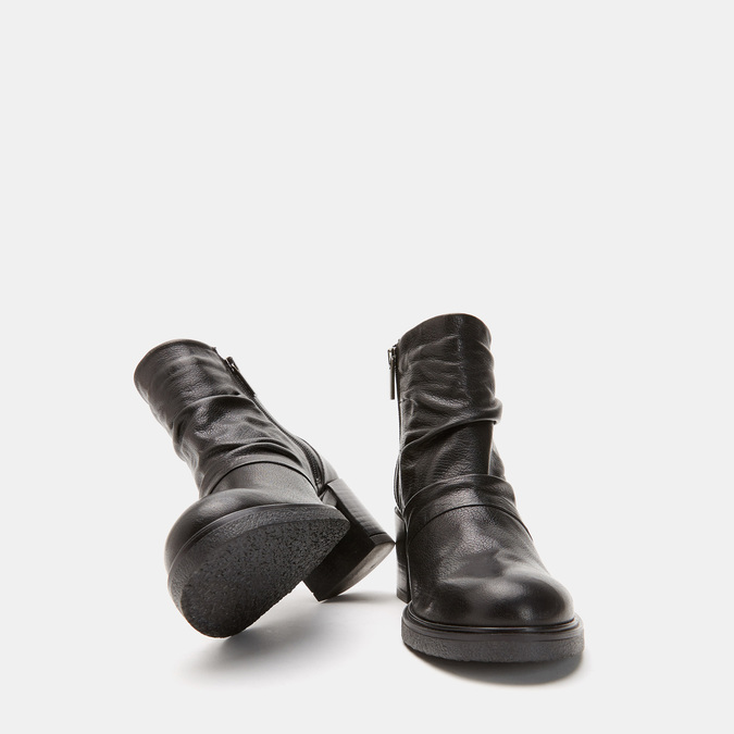 Bottines en cuir de type tronchetto sur talon large bata, Noir, 794-6753 - 15