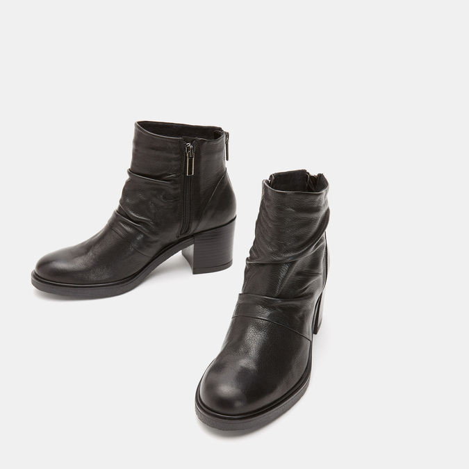 Bottines en cuir de type tronchetto sur talon large bata, Noir, 794-6753 - 16