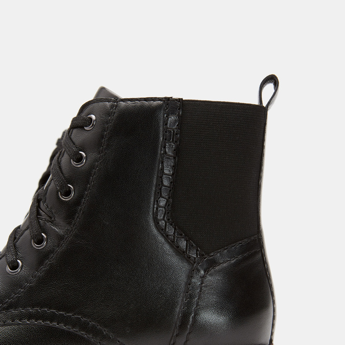 Rangers en cuir, effet vernis bata, Noir, 594-6849 - 26