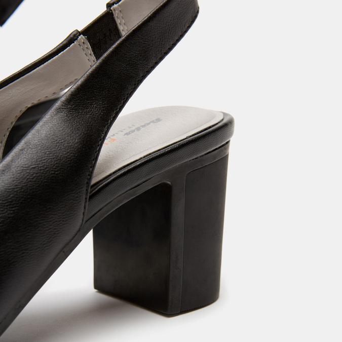 Sandales à talon ouvert et bout arrondi flexible, Noir, 624-6241 - 26