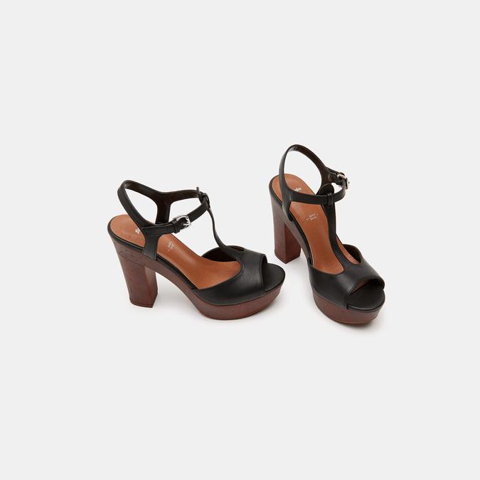 Sandales à talon large et à plateforme bata, Noir, 761-6881 - 16