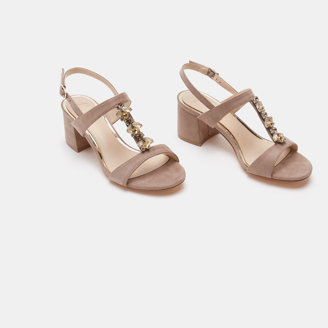 Sandales à talon large bata, Jaune, 769-8856 - 16