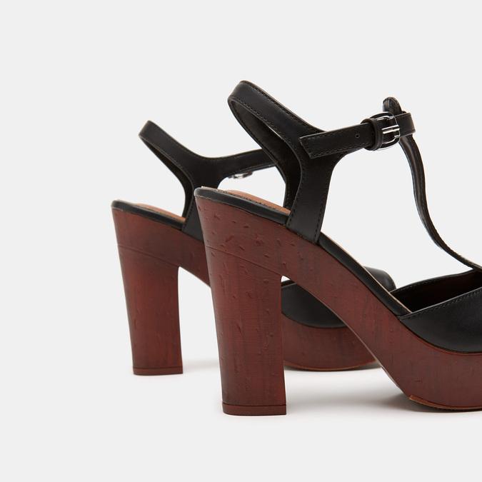 Sandales à talon large et à plateforme bata, Noir, 761-6881 - 15