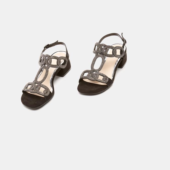 Sandales à talon large bata, Noir, 669-6215 - 16