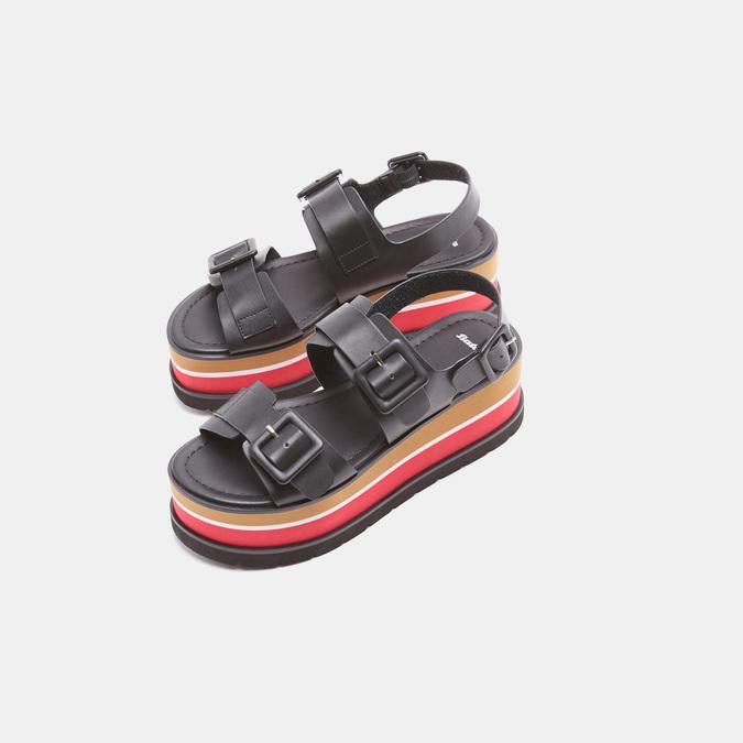 Sandales femme à plateforme bata, Noir, 661-6491 - 26