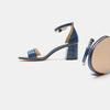 Sandales à talon large bata, Bleu, 761-9863 - 19