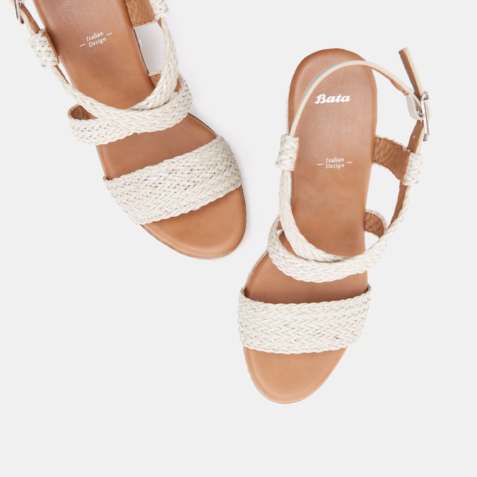 Sandales compensées bata, Blanc, 761-1961 - 15