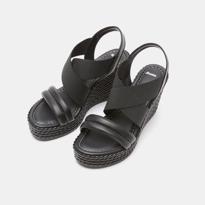 Sandales compensées bata, Noir, 761-6949 - 19