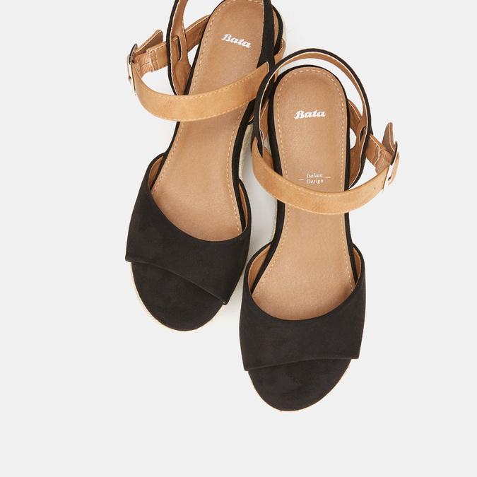 Sandales compensées bata, Noir, 769-6912 - 19