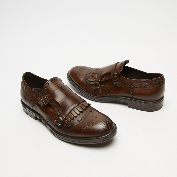 chaussures basses en cuir à boucle bata, Brun, 814-4133 - 16