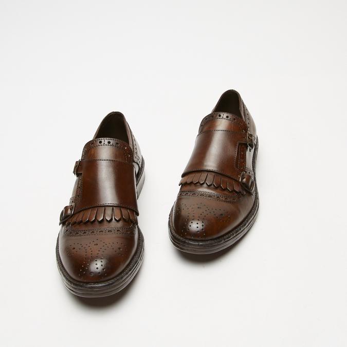 chaussures basses en cuir à boucle bata, Brun, 814-4133 - 26