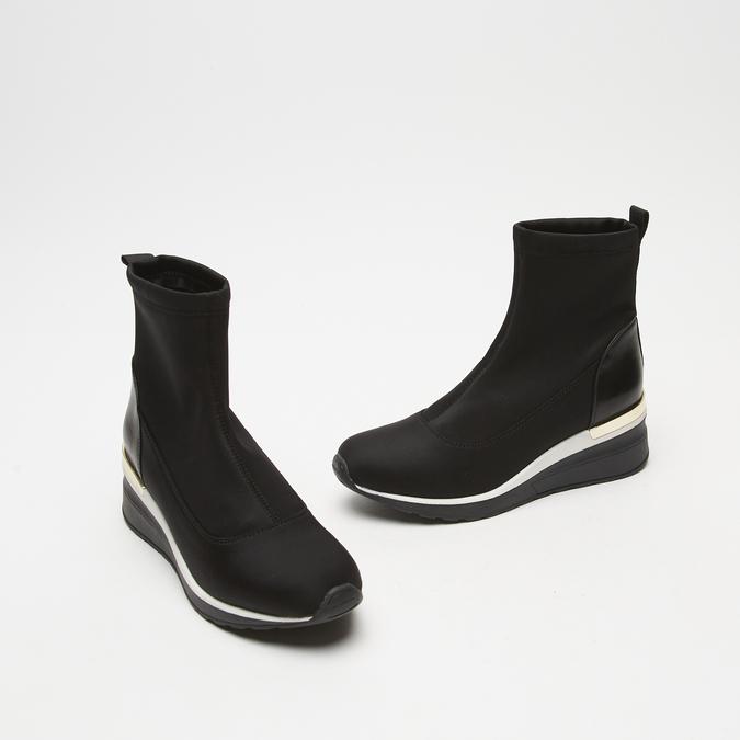 baskets hautes compensées bata, Noir, 699-6144 - 16
