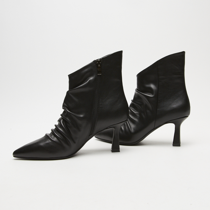 bottines en vrai cuir à effet ondulé bata, Noir, 794-6764 - 26