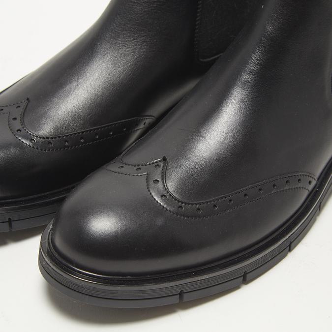 bottines chelsea à piqué brogue flexible, Noir, 894-6138 - 15