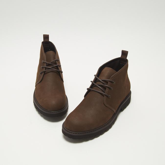 Desert boots en nubuck à semelle effet track bata, Brun, 896-3277 - 26