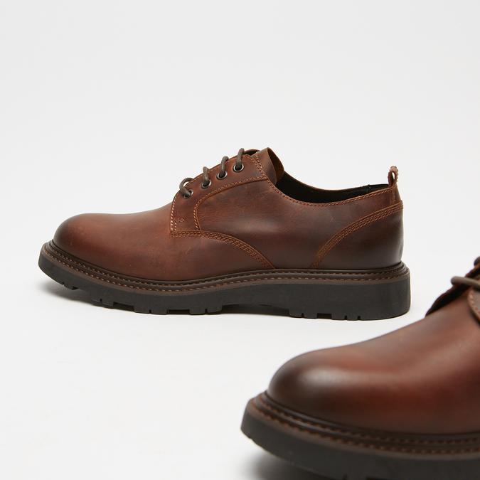 chaussures basses brogue en cuir à semelle track bata, Brun, 824-4226 - 15