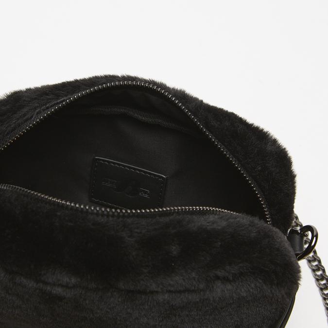 sac à bandoulière avec fourrure bata, Noir, 969-6193 - 17