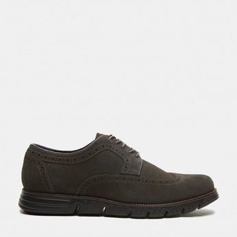 chaussures basses brogue en suède bata, Gris, 823-2199 - 13