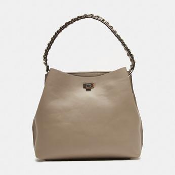 sac à main hobo pour femme à anse chaînette bata, Beige, 961-8203 - 13