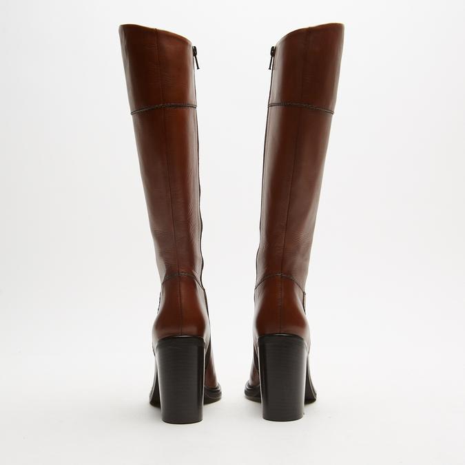 bottes en cuir en-dessous du genou à talons larges bata, Brun, 794-4464 - 17