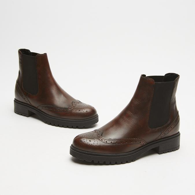 bottines en cuir à surpiqûre visible bata, Brun, 594-4832 - 16